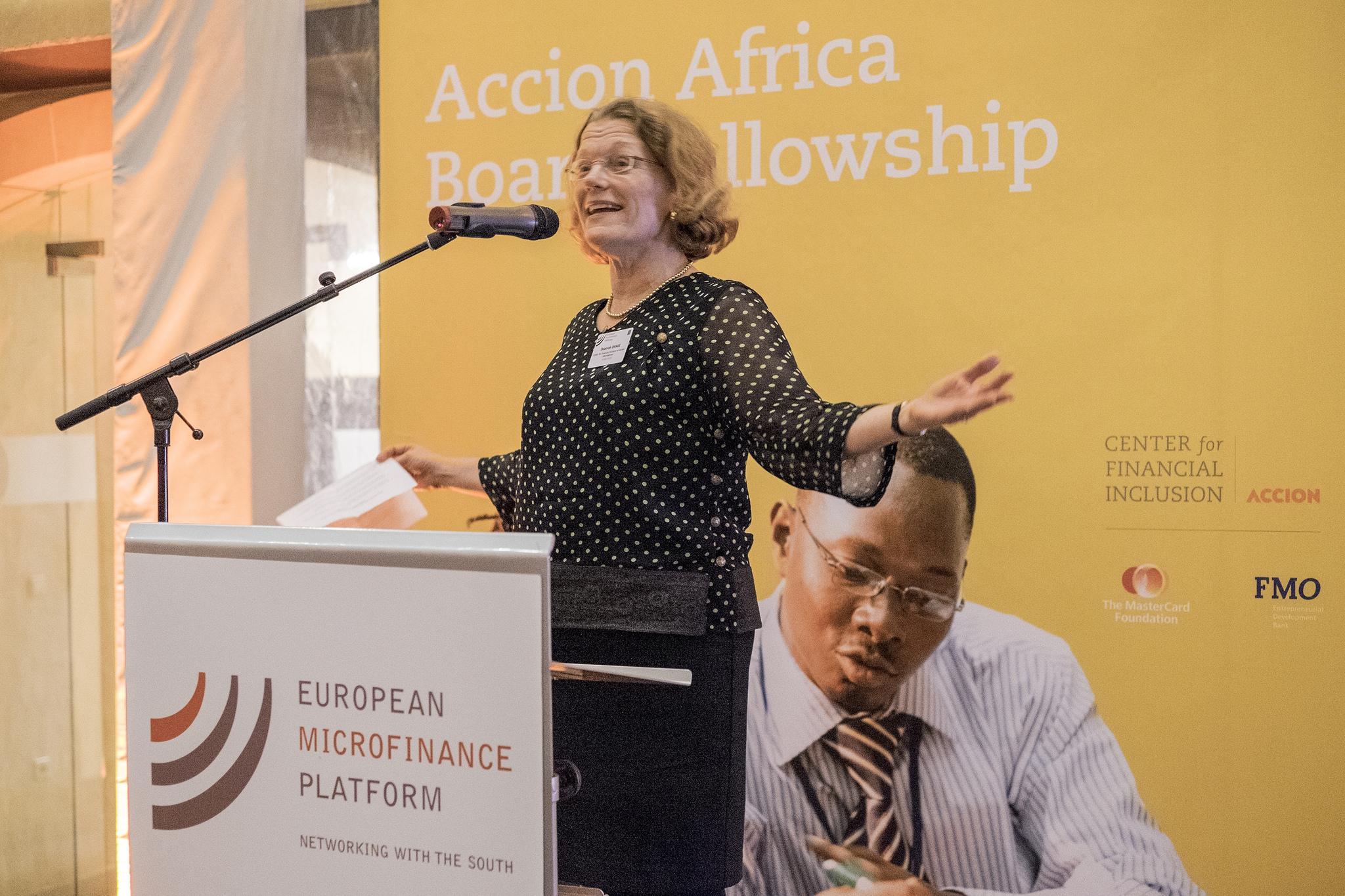 Deborah Drake, vice president, CFI, talks about the Africa Board Fellowship Program at European Microfinance Week in 2014.